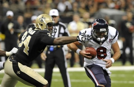 New Orleans Saints defensive end Cameron Jordan (94) sacks Houston Texans quarterback Matt Schaub (8) in the first half of an NFL preseason football game (Photo Credit: AP)