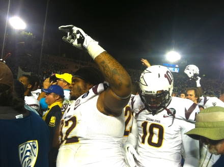Former Hamilton DL Jaxon Hood celebrates his Pac-12 South championship (Photo by: Fabian Ardaya).