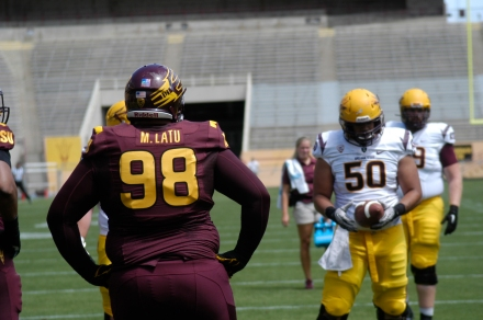 Arizona State defensive lineman Mo Latu (98) lines up during Arizona State's spring game on Saturday, April 19th (Photo by: Fabian Ardaya).