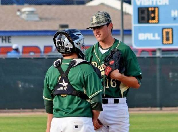 Catcher Cameron Shanks has a conversation with Tyler Chase on the mound (Photo courtest Basha Baseball Facebook page)