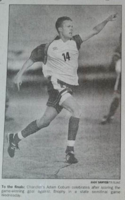 Adam Coburn's photograph celebrating his game winning goal against Brophy in the 1999 semifinals appeared in the Tribune.